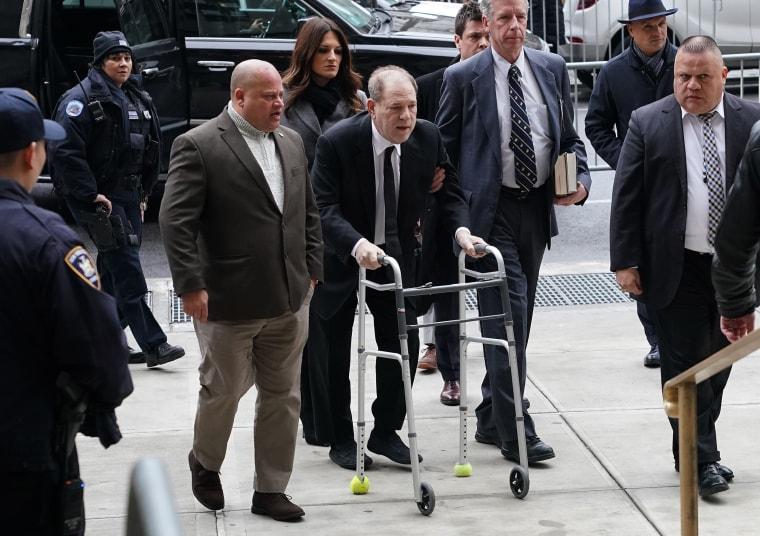 Harvey Weinstein arrives using a walker at the Manhattan Criminal Court on Jan. 6, 2020.