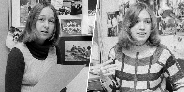 Image: Melissa Ludtke, a writer for Sports Illustrated, is shown on the job in her office in New York in 1978; and Stephanie Salter of Sports Illustrated in her office in 1973.