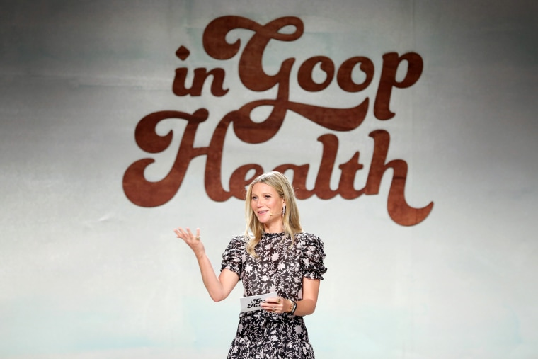 Image: Gwyneth Paltrow speaks on stage at the goop Health Summit in Culver City, Calif., on June 9, 2018.