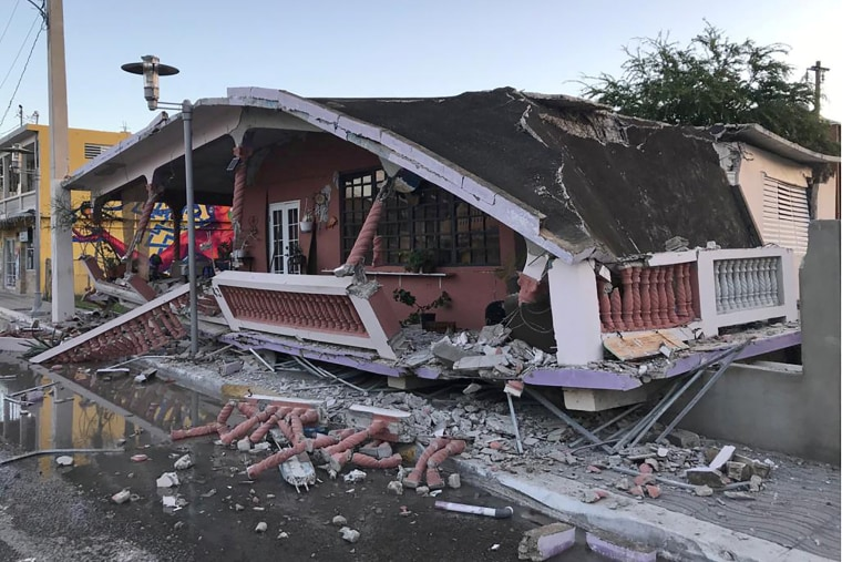 A collapsed home after an earthquake in Guanica, Puerto Rico, on Jan. 7, 2020.