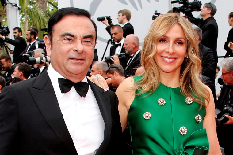 Image: Carlos Ghosn, Chairman and CEO of the Renault-Nissan Alliance, and his wife Carole at he 70th Cannes Film Festival.