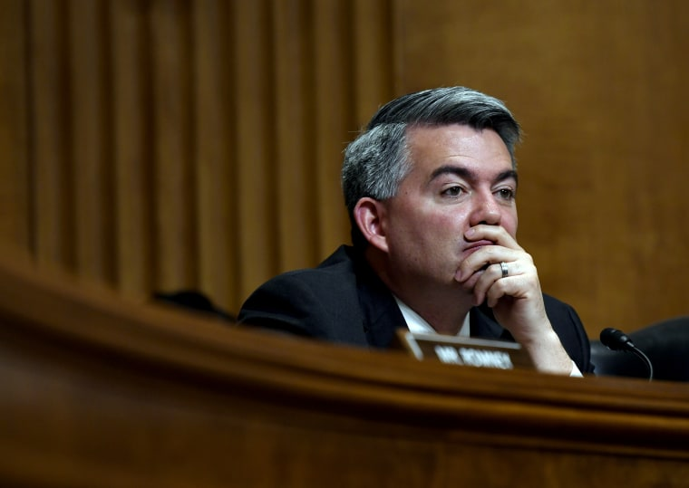 Image: Sen. Cory Gardner, R-Colo., listens to testimony during a hearing on Capitol Hill on April 10, 2019.