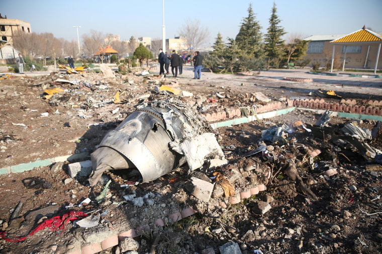 Image: Debris of a plane belonging to Ukraine International Airlines, that crashed after taking off from Iran's Imam Khomeini airport, on the outskirts of Tehran, Iran