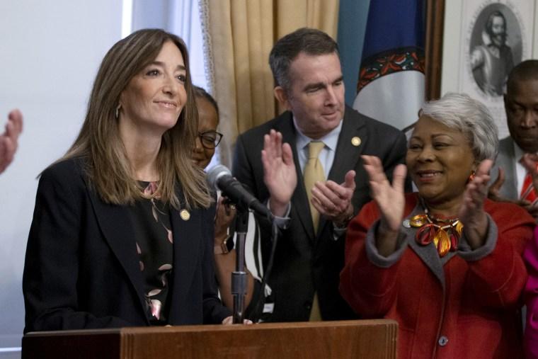 Image: Virginia House of Delegates speaker-designate Eileen Filler-Corn, left, speaks during remarks on the legislative agenda at the Capitol in Richmond on Jan. 7, 2020.