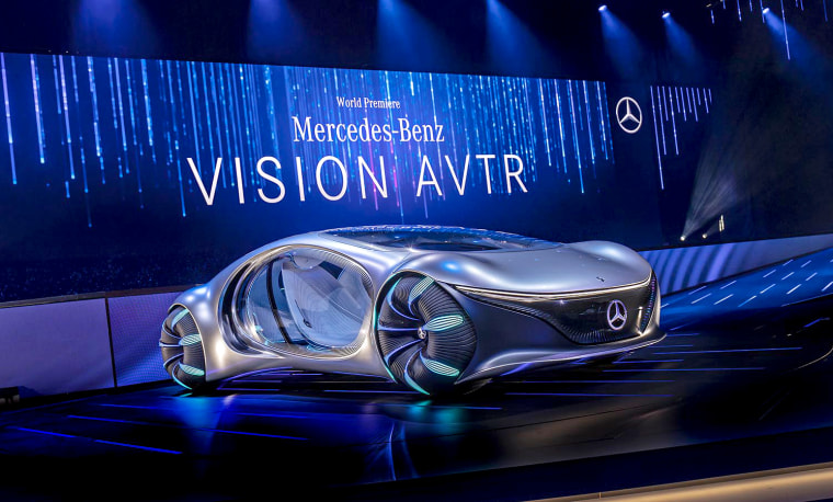 """Image:  Mercedes-Benz VISION AVTR vehicle, inspired by the movie """"Avatar."""""""