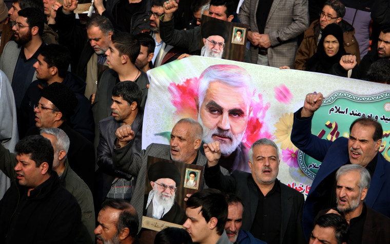 Image: Iranians march with a banner of General Qasem Soleimani during a demonstration in Tehran on Jan. 3, 2020. Soleimani was killed by a U.S. airstrike in Baghdad, Iraq.