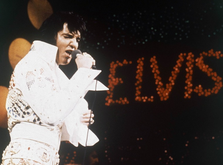 Elvis Presley, the King of Rock 'n' Roll, during a performance in 1972.