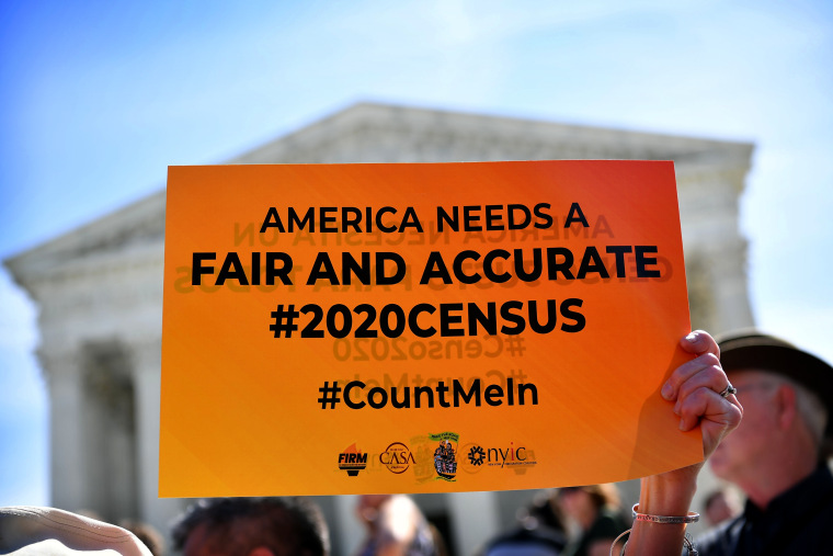 Image: Demonstrators rally outside the Supreme Court after a proposal to add a citizenship question to the 2020 Census was reintroduced on April 23, 2019.