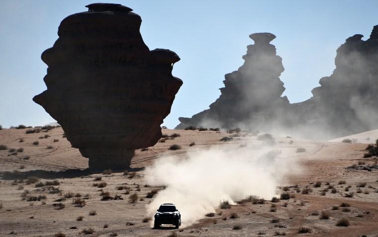 Mini's Argentinian drivers Orlando Terranova and co-driver Bernardo Grue compete during the Stage 3 of the Dakar 2020 around Neom, Saudi Arabia, on Jan.  7, 2020.