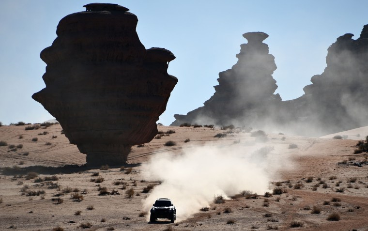 Mini's Argentinian drivers Orlando Terranova and co-driver Bernardo Grue compete during the Stage 3 of the Dakar 2020 around Neom, Saudi Arabia, on Jan.  7, 2020.