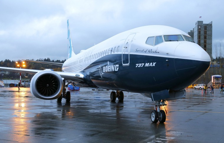 Image: The first Boeing 737 MAX airplane to roll off Boeing's assembly line in Renton, Wash. is shown parked Tuesday, Dec. 8, 2015 before an employee-only rollout event.