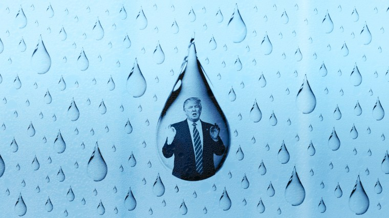 Illustration of water drops with a photo of Trump giving a speak in the largest water drop.
