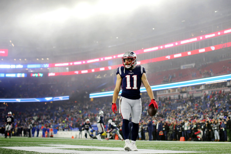 Image: New England Patriots player Julian Edelman warms up before a game against the Tennessee Titans in Foxborough, Mass., on Jan. 4, 2020.
