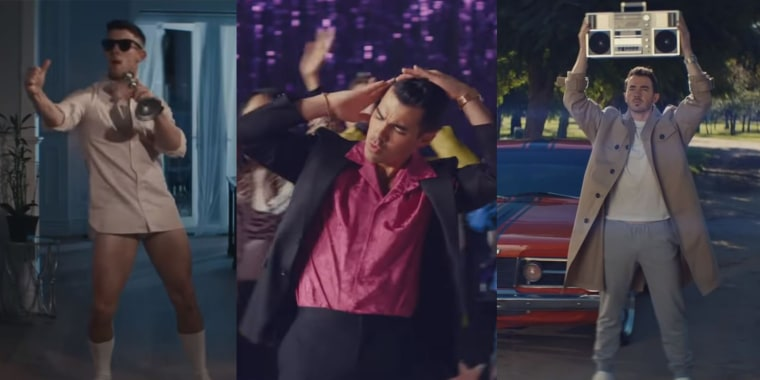 "The Jonas Brothers are joined by their wives -- and actor Matthew Modine -- for a music video that pays homage to ""Risky Business,"" ""Grease"" and ""Say Anything."""