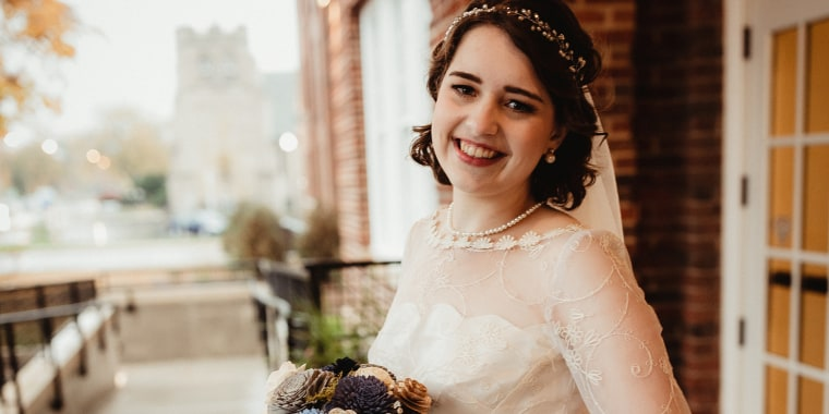 Christina Moffett wore her grandmother's wedding dress and took a similar honeymoon, too.