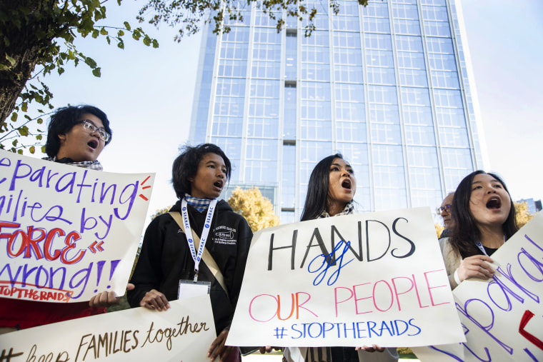Image: Demonstrators protest the detentions and deportations of Cambodian Americans in front of the Immigration and Customs Enforcement (ICE) office in Sacramento