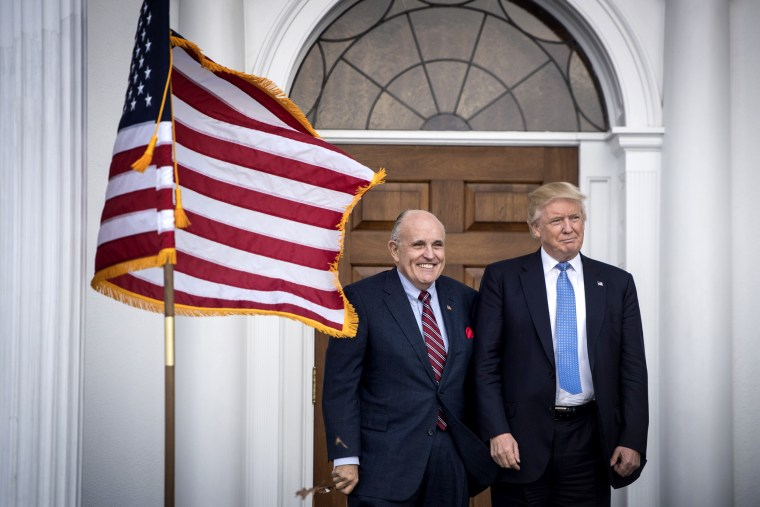 Image: President-elect Donald Trump and Rudy Giuliani at Trump National Golf Club Bedminster in N.J. on Nov. 20, 2016.