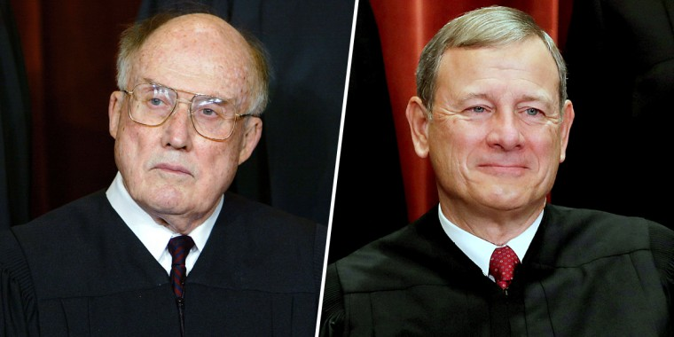 Former Chief Justice William Rehnquist and Chief Justice John Roberts.