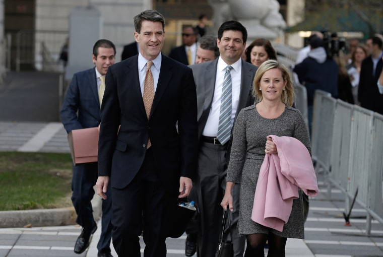 Bill Baroni, left, and Bridget Anne Kelly exit the federal courthouse in Newark