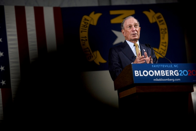 Image: Michael Bloomberg answers questions at a campaign event in Fayetteville, N.C., on Jan. 3, 2020.