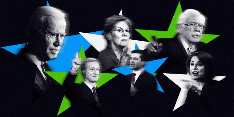 Image: Former Vice President Joe Biden, Sen. Elizabeth Warren, Sen. Bernie Sanders, Tom Steyer, former mayor Pete Buttigieg and Sen. Amy Klobuchar will take the state in a Democratic presidential debate on Tuesday night in Iowa.