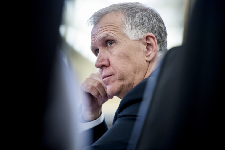 Image: Sen. Thom Tillis, R-N.C., attends a Senate Veterans' Affairs Committee Hearing on March 26, 2019.
