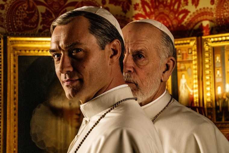 "Image: Jude Law and John Malkovich in ""The New Pope."""