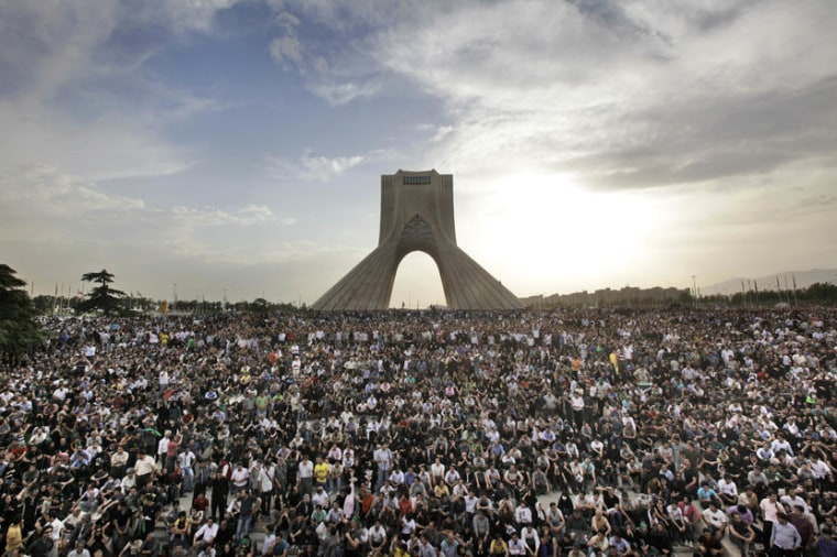 Iranians take to the street to protest the 2009 election results.
