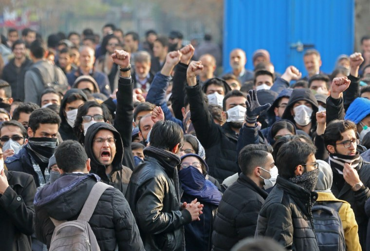 Iranian students gather for a demonstration over the downing of a Ukrainian airliner at Tehran University on Jan. 14, 2020.