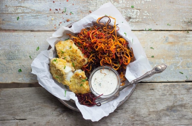 Chef Julie Andrews, RD, uses her spiralizer to make these crispy baked beet and sweet potato fries.