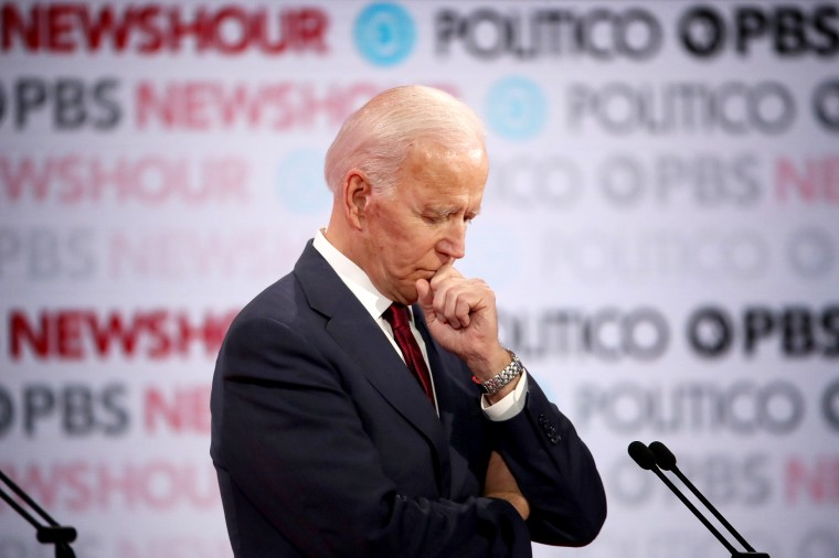 Image: Former Vice President Joe Biden listens during a Democratic presidential primary debate in Los Angeles on Dec. 19, 2019.