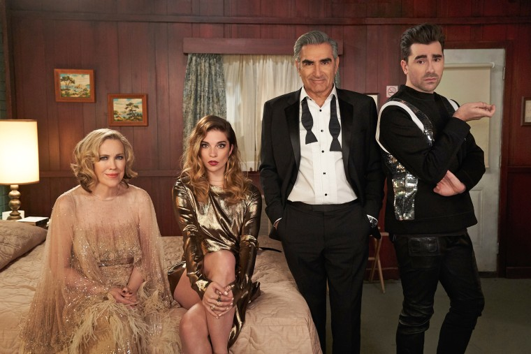 """Catherine O'Hara, Annie Murphy, Eugene Levy and Dan Levy in the final season of """"Schitt's Creek."""""""