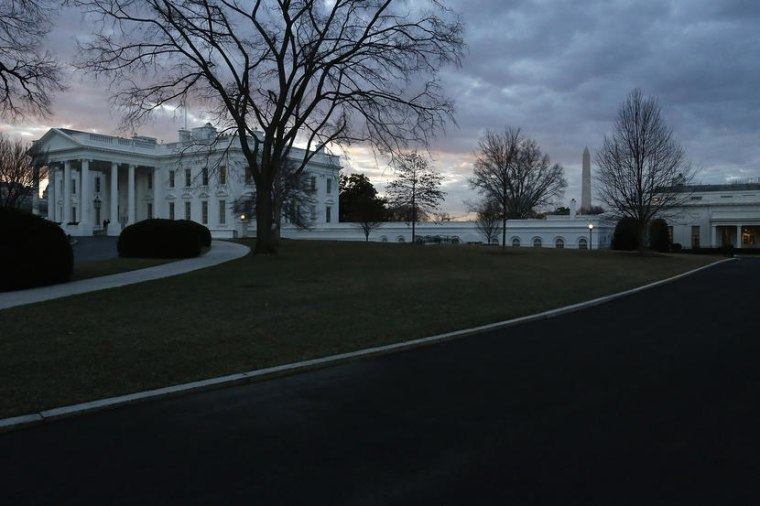 Morning breaks over the White House and the offices of the West Wing in Washington