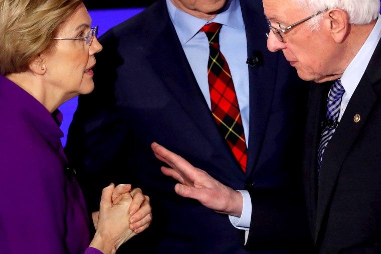 Image: Sen. Elizabeth Warren and Sen. Bernie Sanders speak after a Democratic presidential debate at Drake University in Des Moines, Iowa, on Jan. 14, 2019.