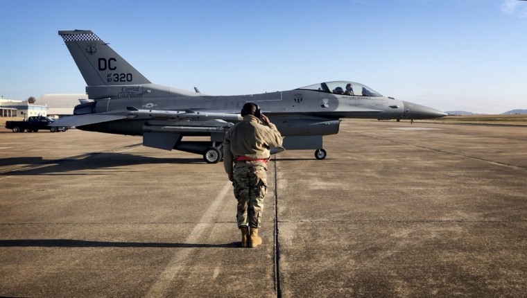 Image: A F-16C Fighting Falcon prepares for a training exercise at the McGhee Tyson Air National Guard Base in Tenn., on Nov. 20, 2019.