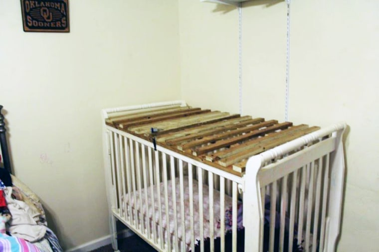 One of two cribs found at the home in Smiths Station in southeast Lee County.