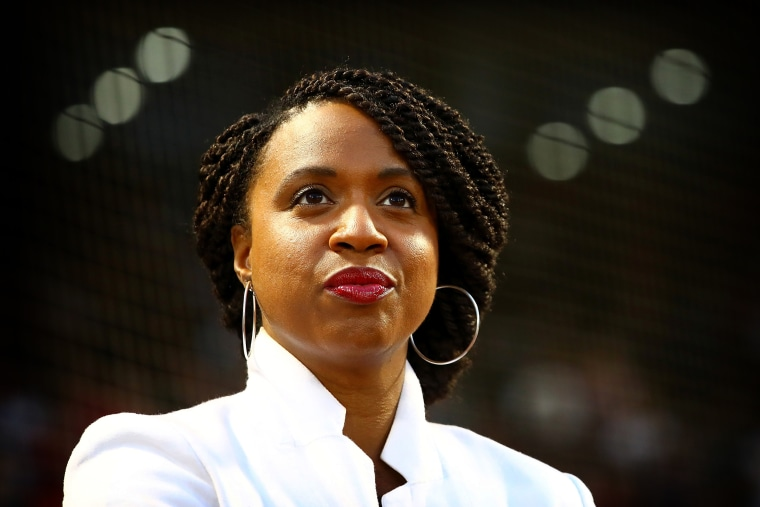 Image: Newly-elected congresswoman Ayanna Pressley looks on before a baseball game at Fenway Park in Boston on September 7, 2018.