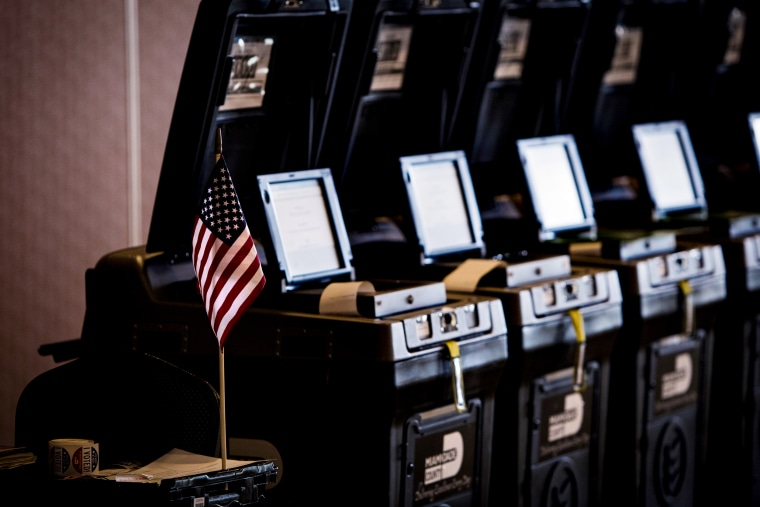 Image: Voting machines at a polling station in Doral, Fla., on Aug. 28, 2018.