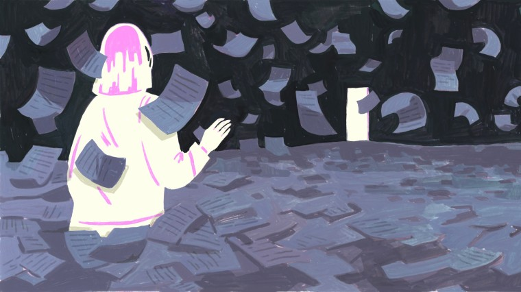 Illustration of woman wading through a sea of paperwork toward a light.