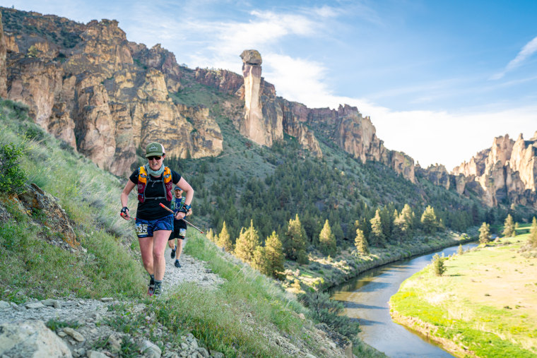 Jay Bowen running the Smith Rock Ascent 50K in Bend, Oregon.