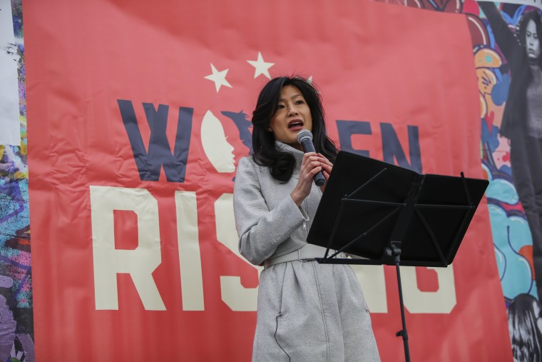 Evelyn Yang speaks at Women's March about her sexual assault