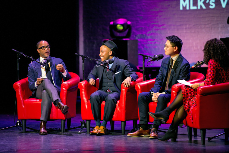 Jonathan Capehart, Rashad Robinson, Hansi Lo Wang and Alison Stewart at the Apollo Theater on Jan. 13, 2020, in Harlem, N.Y.
