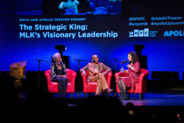 Dorothy Butler Gilliam, the Rev. Kelly Brown Douglas and Alison Stewart at the Apollo Theater in New York on Jan. 13, 2020.