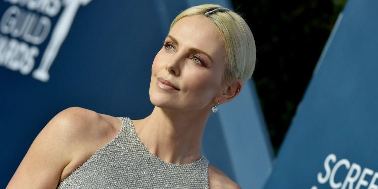 Charlize Theron wears diamond bracelet in hair at SAG Awards