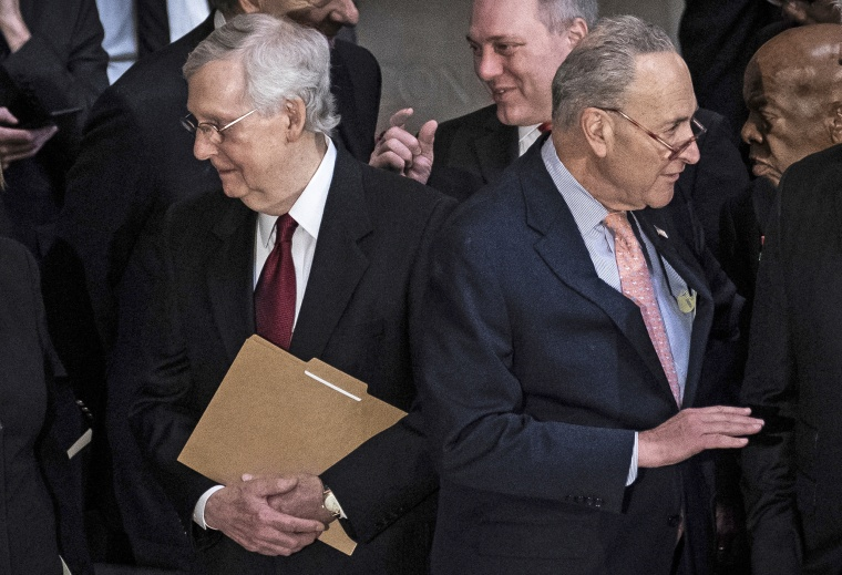 Senate Majority Leader Mitch McConnell and Senate Minority Leader Chuck Schumer before a memorial service for Rep. Elijah Cummings, D-Md., at the U.S. Capitol on Oct. 24, 2019.