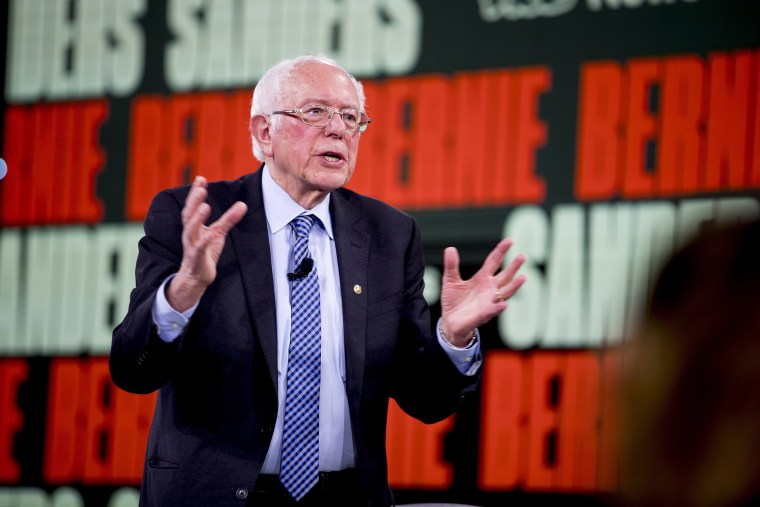 Image: Democratic presidential candidate Sen. Bernie Sanders, I-Vt., speaks at the Brown & Black Forum at the Iowa Events Center