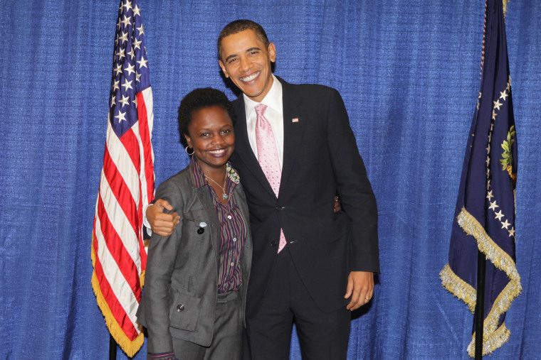 Karine Jean-Pierre and her former boss, President Barack Obam.a