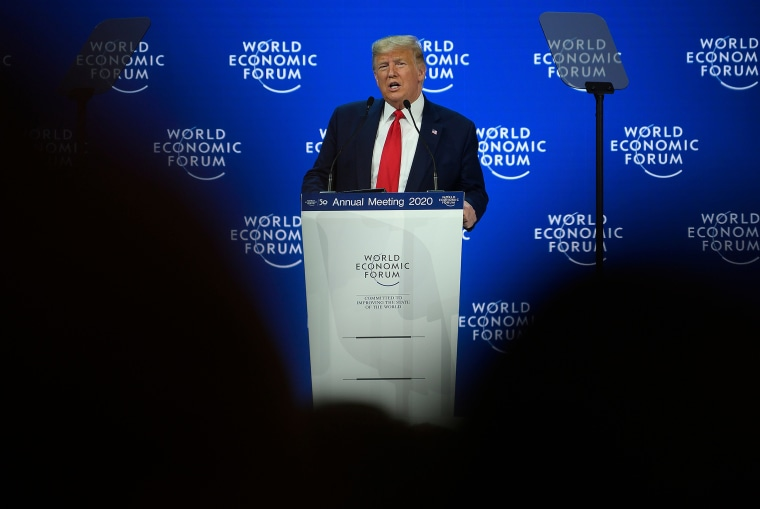 President Donald Trump addresses the World Economic Forum in Davos