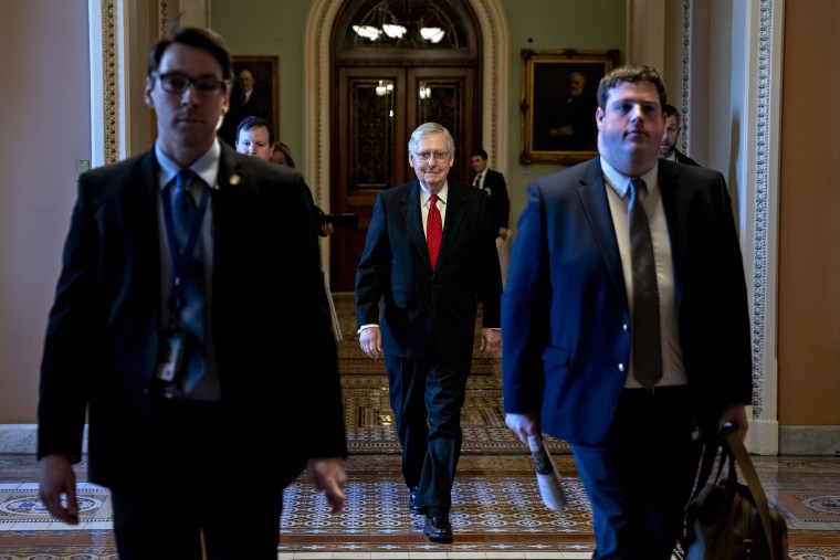 Senate Majority Leader Mitch McConnell arrives to the Capitol on Jan. 21, 2020.