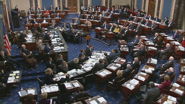 Politicians on the Senate floor during Trump's trial on Jan 21, 2020.